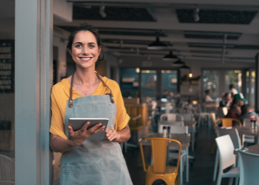 small business owner on tablet