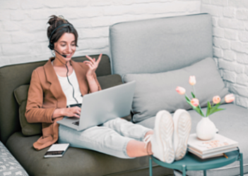 remote worker using the cloud for work